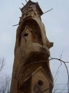 Bird House stump carving