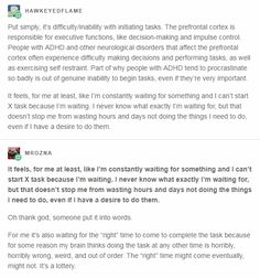 Executive dysfunction might manifest as an inability to start the task, to resume the task after an interruption, or to finish/conclude the task. Chronic Illness, Mental Illness, Adhd Brain, Adhd And Autism, Adult Adhd, Mental Disorders, Mental Health Awareness, Writing Prompts, Good To Know