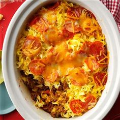 Slow-Cooked Pizza Casserole Recipe -A friend from church gave me the recipe for this satisfying casserole for the slow cooker. It's always one of the first dishes emptied at potlucks, and it can easily be adapted to personal tastes. Church Potluck Recipes, Potluck Dishes, Dinner Recipes, Potluck Meals, Crockpot Potluck, Freezer Meals, Pasta Dishes, Slow Cooker Recipes, Crockpot Recipes