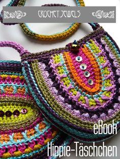 Crochet Patterns Bag Crochet Tutorials - NEW ○ eBook ○ Hippie Pouch ○ DIY - a designer star . Bag Crochet, Crochet Bracelet, Crochet Handbags, Crochet Purses, Crochet Stitches, Crochet Patterns, Crochet Hippie, Mandala Au Crochet, Hippie Bags