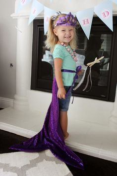 For Emma& birthday, I knew I wanted to have mermaid tails for party favors! Finding a good tutorial or how-to on how to mak. Little Mermaid Dresses, Little Dresses, The Little Mermaid, 6th Birthday Parties, Baby First Birthday, Girl Birthday, Mermaid Halloween Costumes, Mermaid Tails For Kids, Diy Gifts For Kids