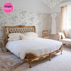 Bedroom Bliss. Gilded and tufted, with crystal, fur, and florals. Styling: The French Bedroom Company.