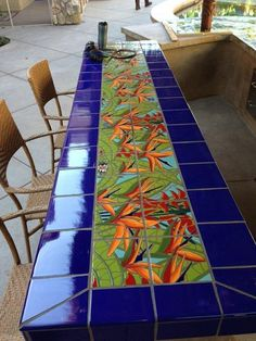 Bird of Paradise tiled table for the outdoors