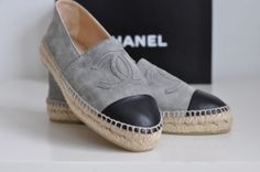 NIB Auth CHANEL Classic Iconic Suede CC Logo Espadrille Flat Loafer Shoe 8 39