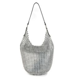 The 'Laura' Hobo bag crocheted with post-consumer recycled aluminum pop-tops. The strap is American Bison with pig suede liner made by Stash Co http://stashco.myshopify.com/