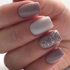 15 Gorgeous Square Nail Designs To Copy : Glitter Feature Nail Square Nails Get some nail inspiration for your next manicure with these gorgeous square nail designs that you will want to copy. Square Nail Designs, Short Nail Designs, Gel Nail Designs, Nails Design, Nail Designs For Spring, Nail Colors For Spring, Nail Design For Short Nails, Stylish Nails, Trendy Nails
