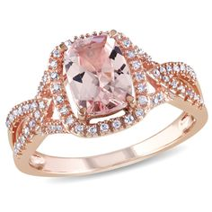 Yes Please!!!!!!!!! Take notes future Husband! Zales Cushion-Cut Morganite and 1/6 CT. T.W. Diamond Ring in 10K Rose Gold