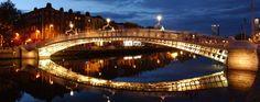 The Ha'penny Bridge over the River Liffey in Dublin, Ireland #travel
