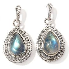 Hilary Joy Pear-Shaped Moonstone Sterling Silver Drop Earrings at HSN.com.