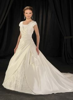 Luxurious Style Beads Working Applique Natural Cap Style Sleeves Square Organza Chapel Train Satin Bridal Gown