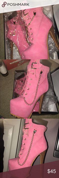 Pink Timberland Boot Heels (Pink Timberland Boot Heels) Size: 7.5 Heels: 7in platform Shoes Heeled Boots