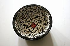 Etsy Mosaic Black and White Bowl Black and by earthmothermosaics Black Bowl, White Bowl, Mosaic Art, Mosaics, Broken China, Mild Soap, Artsy Fartsy, Gift Guide, Decorative Plates