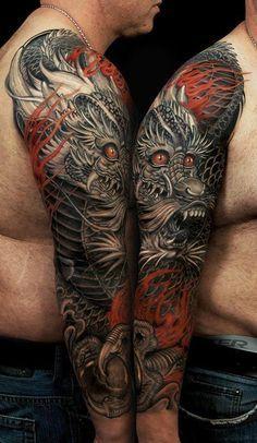 Asian Dragon Tattoos half sleeve | japanese dragon half sleeve tattoo designs…