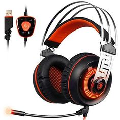 PC Gaming Headset, Sades Stereo Surround Sound USB Wired Computer Headphones with Microphone Flexible,Volume Control Over Ear LED Lighting Noise Canceling for Gamers,Black/Blue Gaming Headset, Gaming Headphones, Headphones With Microphone, Headphone With Mic, Over Ear Headphones, Uganda, Pc Gamer, Sierra Leone, Usb