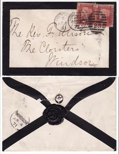 """""""1871, Great Britain, London, Windsor, wax seal, mourning cover.""""    Mourning in the 19th century extended to every part of life, even stationary.  The width of the black border on the stationary decreased over time, just as a woman's mourning clothing would go through lessening degrees of outward mourning until she could return to her usual clothing."""