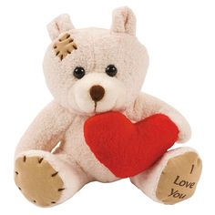 Plush Bears With Heart - OrientalTrading.com