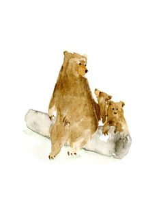 Gorgeous. :: Watercolor Bears Mama and cubs on a Log by Catherine Lazar Odell