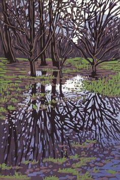 Waterlogged, Linocut by Alexandra Buckle   Artfinder