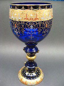 Moser-Bohemian-Glass-Gold-Gilt-Enameled-Large-Goblet-Signed