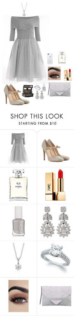 """Winter Party outfit"" by mientowaaa ❤ liked on Polyvore featuring Gianvito Rossi, Chanel, Yves Saint Laurent, Essie, Diamond Scene, Blue Nile, Polaroid and Ezra"