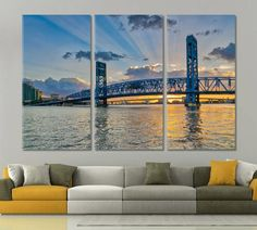 Canvas Art Jacksonville Main ST Bridge 3 Panels x Office Wall Decor, Office Walls, Skyline Homes, Oversized Wall Art, Tree Canvas, Canvas Art, Thing 1, Colorful Wall Art, New Years Decorations