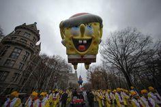 A SpongeBob Squarepants balloon floats down Central Park West during the 88th Macy's Thanksgiving Day Parade in New York. Macy's Thanksgiving Day parade | Reuters.com