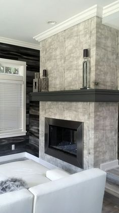 San Diego Painting Contractor concrete fireplace, gray wood plank walls  - Interior Painting