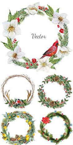 Vector Set - Watercolor Christmas Frames