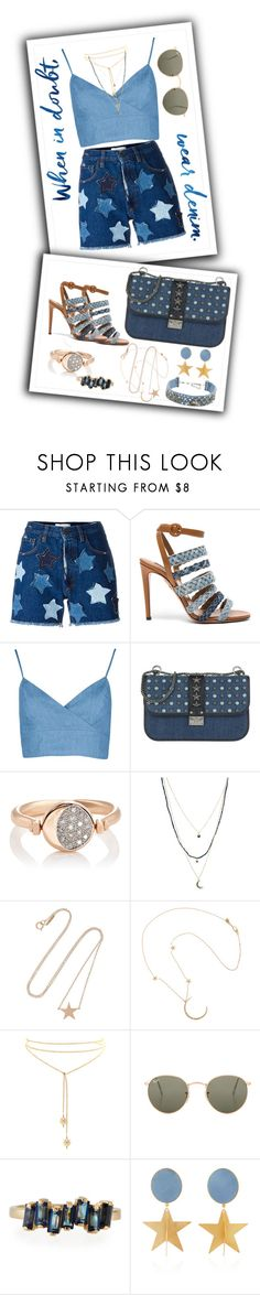 """""""Denim Shorts"""" by belladicaprio ❤ liked on Polyvore featuring Faith Connexion, Aquazzura, Valentino, Pamela Love, Steve Madden, Jennifer Meyer Jewelry, Me&Ro, Ray-Ban, Suzanne Kalan and Silhouette"""