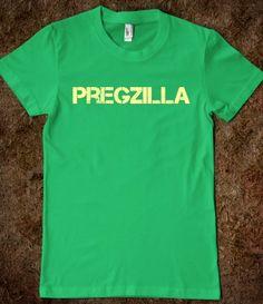 Pregzilla pregnant shirt, pregnancy reveal.  Godzilla pregzilla