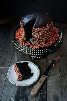 Halloween black velvet layer cake