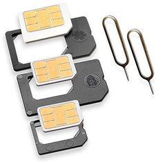 Nano Sim und Micro Sim Adapter KOMPLETT-SET (5er-SET) mit 2x Simnadel Eject Pin, Adapter sind zur Verwendung von NanoSIM und MicroSIM Karten als Micro Sim oder normale Sim Karte für alle Handys