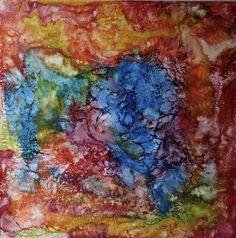 """Encaustic Schellac Kunst — """"Nebulosa azul"""", N. Winkel.  Encaustic painting,..."""