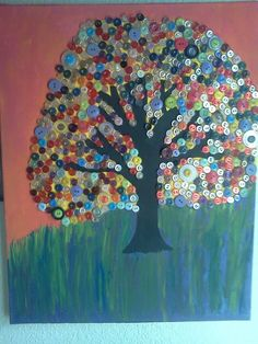 Acrylic Button Tree painting