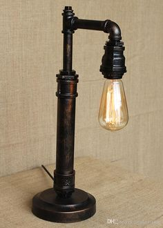 Vintage Water Table Lamp Edison Light Bulb Lamp Retro Iron Pipe Creative Personality Loft Bar Cafe Table Lamp From Dpgkevinfan, $107.44 | Dhgate.Com