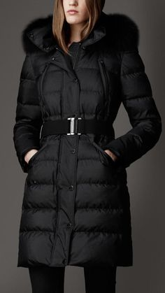 Burberry Fur Trim Puffer Coat on shopstyle.com