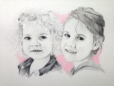 Portrettekening van twee knappe zusjes, nagetekend van een foto.