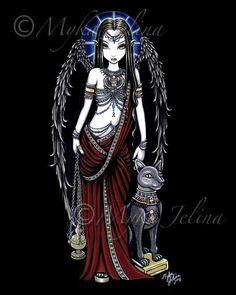 Ägyptische Angel Art Gothic Bastet Fairy Drucken NEFERTARI von Myka Jelina