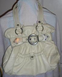 Kathy Van Zeeland White Buckle Handbag