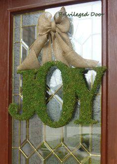 "Primitive Christmas Wreath. Rustic Christmas Wreath. XL  Moss Covered ""JOY"".  Custom designed on Etsy."