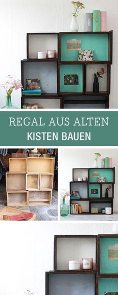 Möbel selberbauen: Regal aus Kisten bauen / diy furniture: how to build a sideboard with wooden boxes via DaWanda.com