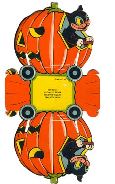 Vintage Halloween Ephemera ~ Pumpkin Car Candy Container, circa 1950's