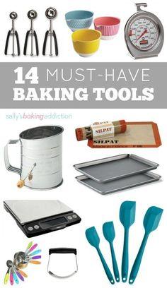 14 Kitchen Tools Every Baker Needs. (Sally's Baking Addiction) 14 Kitchen Tools Every Baker Needs. Baking Supplies, Baking Tools, Baking Gadgets, Baking Products, Kitchen Supplies, Baking Hacks, Sallys Baking Addiction, Baking Accessories, Kitchen Essentials
