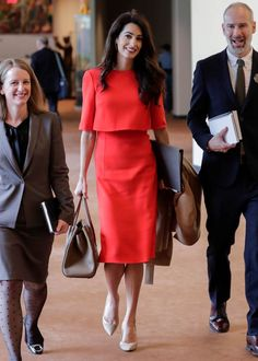 Amal Clooney Wore Her Power Color to the U. Assembly—and Looked Absolutely Stunning (Of Course) Amal Clooney Wore Her Power Color to the U. Assembly—and Looked Absolutely Stunning (Of Course) style # Amal Clooney, Fashion Mode, Work Fashion, Womens Fashion, Fashion Tips, Style Fashion, Cheap Fashion, Fashion 2017, Fashion Ideas