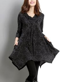 Another great find on #zulily! Charcoal Damask Shawl-Collar Handkerchief Dress #zulilyfinds