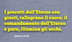 I precetti dell'Eterno son giusti, rallegrano il cuore; il comandamento dell'Eterno è puro, illumina gli occhi. (Salmo 19:8)
