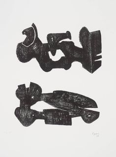 Henry Moore OM, CH 'Two Black Forms: Metal Figures', 1973 © The Henry Moore Foundation. All Rights Reserved Geometric Sculpture, Modern Sculpture, Abstract Sculpture, Sculpture Art, Metal Sculptures, Bronze Sculpture, Henry Moore Drawings, Henry Moore Sculptures, Modern Drawing