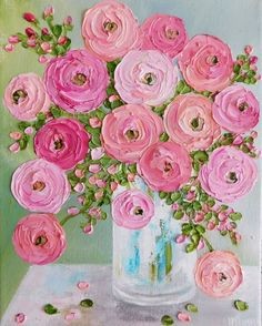 Pretty Ranunculus oil impasto painting in pinks and apricots ! Perfect for a nursery, childs room, garden room or a area where you love flowers. #OilPaintingFlowers