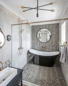 Small bathroom renovations 346284658849948934 - Extravagant master bathroom – complete with freestanding tub and herringbone tile wet room. Source by creativeshanice Bad Inspiration, Bathroom Inspiration, Bathroom Renos, Bathroom Renovations, Bathroom Makeovers, Wet Room Bathroom, Decorating Bathrooms, Bathroom Layout, Bathroom Cabinets