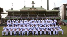 The Los Angeles Dodgers pose for a team photo at the Sydney Cricket Ground in Sydney, Wednesday, March 19, 2014. The MLB season-opening two-game series between the Los Angeles Dodgers and Arizona Diamondbacks in Sydney will be played this weekend. (AP Photo/Rick Rycroft)